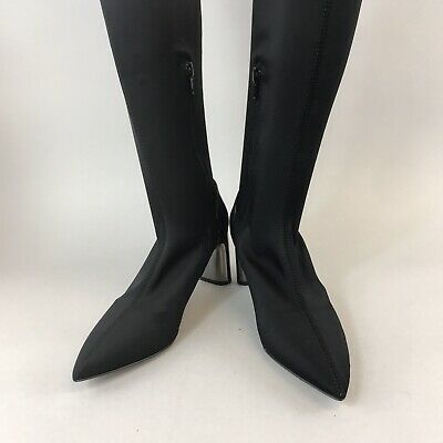 Zara Woman 37 UK4 Black Satin Fabric Elasticated Stretch Over The Knee Boots for sale  Shipping to Ireland
