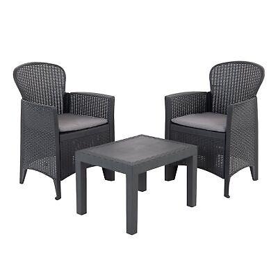 juego conjunto de muebles de jardín sillones de terraza 3 piezas aspecto...