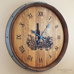 Wine Glass Engraved Wine Barrel Clock Large Wall Rustic Furniture Handmade Decor