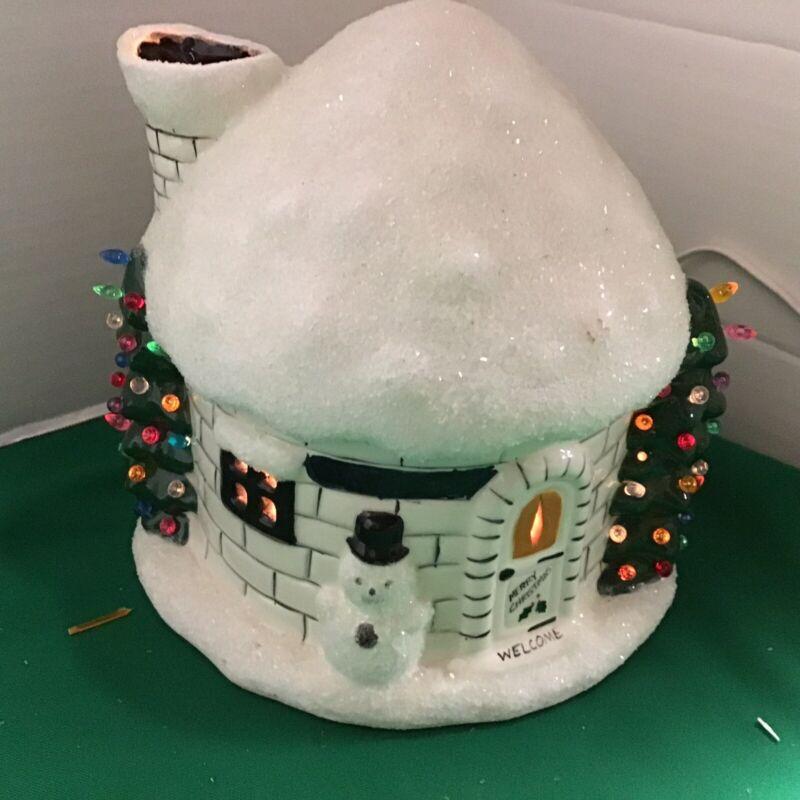 Vtg Light Up Ceramic Christmas Tree Igloo House Santa Snowman North Pole