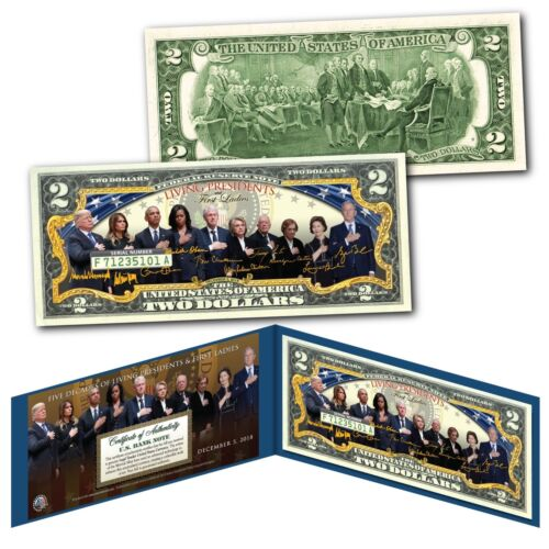 LIVING PRESIDENTS & FIRST LADIES Historical Genuine Legal Tender U.S. $2 Bill