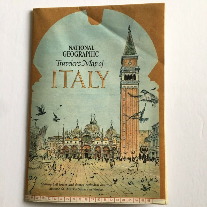 National Geographic Travelers Map Of Italy Vintage 1970