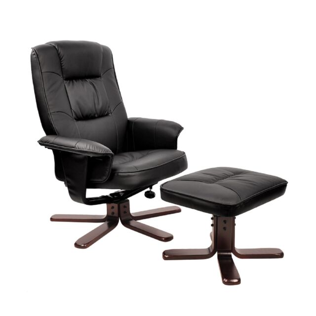 PU Leather Lounge Recliner Chair Ottoman Black