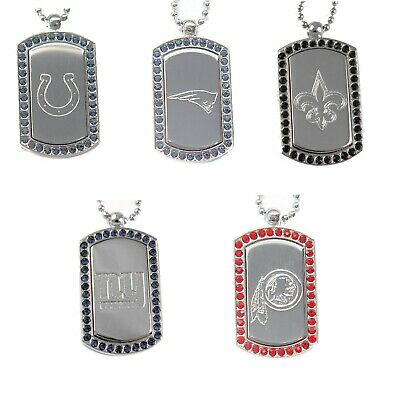 crystal dog tag necklace charm pendant NFL PICK YOUR TEAM  Crystal Dog Tag Necklace