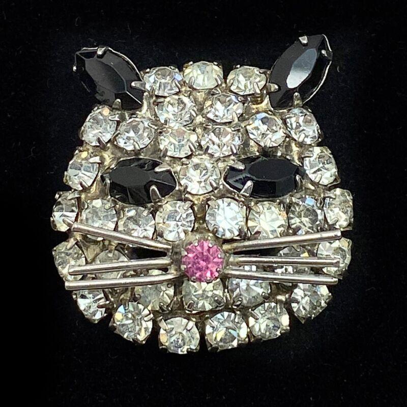 Vintage Cat Face Brooch Prong-set Rhinestone Kitty Head Pin