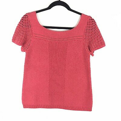 LOFT Womens Size S Pink Short Sleeve Sweater Boat Neck Open Knit Solid Open Knit Boat Neck