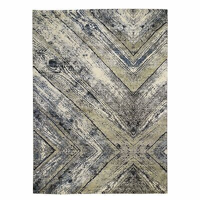 "9'x12'1"" Wood Trunk Design Silk With Textured Wool Hand Knotted Rug R48514"