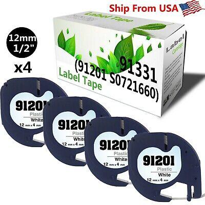 4 Pk 91201 Label Tap Used For Dymo Label Maker Rhino 5200black On White