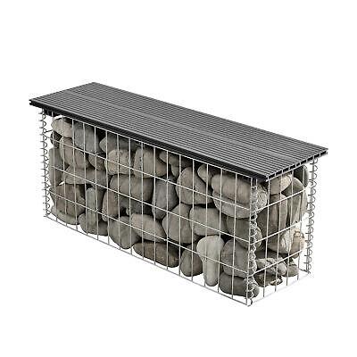[pro.tec]® WPC Gabion Bench 100x45x30cm Garden Seat Wire Stone Box Grey