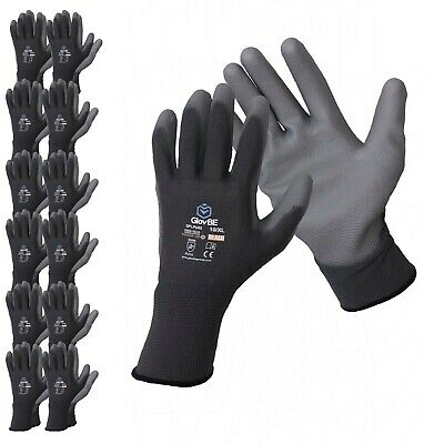 Glovbe 12 Pairs Polyester Work Gloves Gardening Mechanic Construction Safety