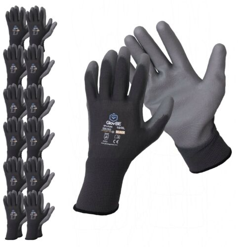 GlovBE 6/12 PAIRS Polyester Work / Garden / Mechanic /Construction/Safety Gloves