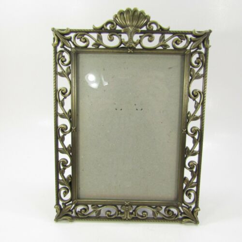 Connoisseur Metal Scroll Ornate Picture Frame Brass-tone Portrait Tabletop 5x7