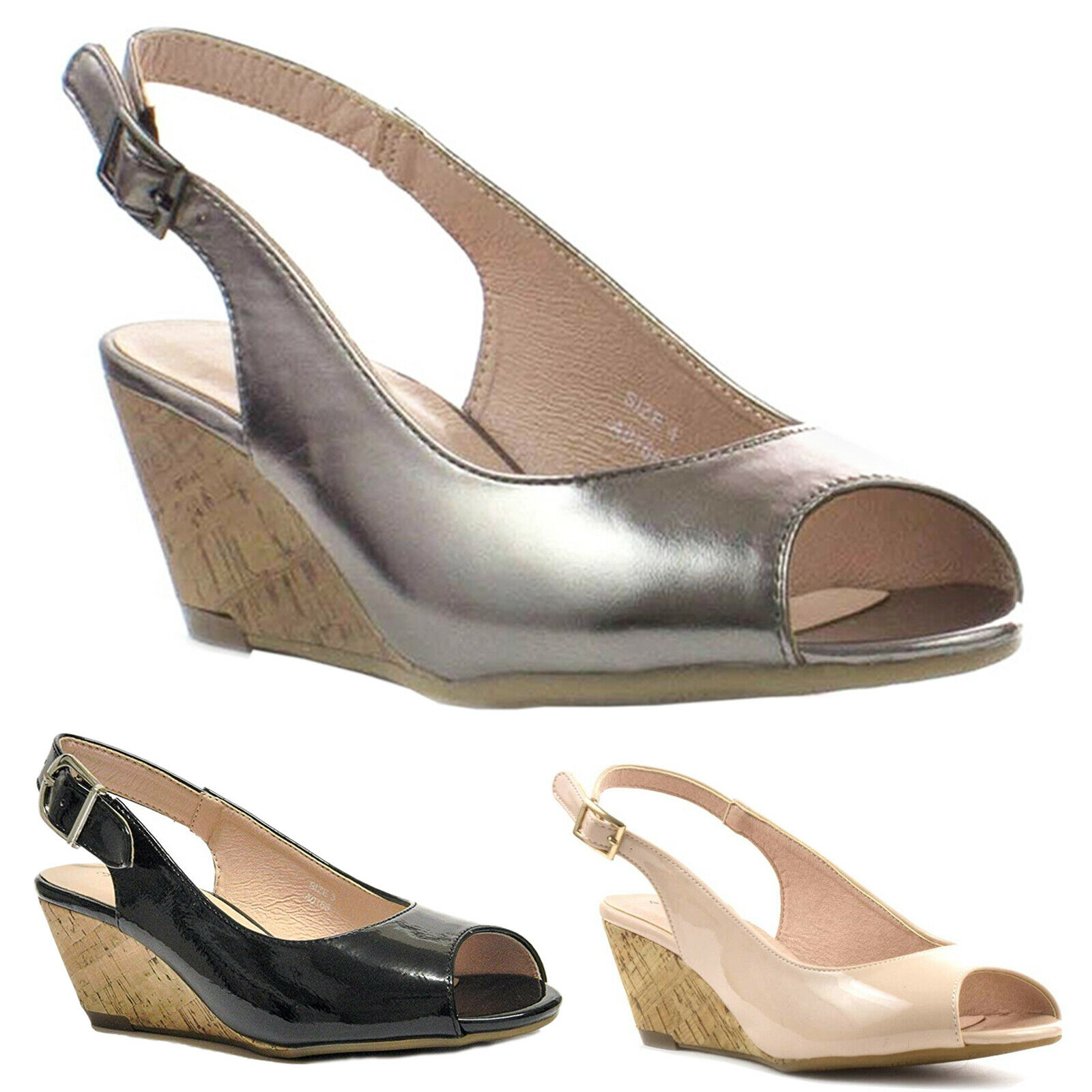 f58bcd7f3c5 Details about COMFORT PLUS LADIES WIDE FIT WEDGE SANDALS WOMENS PEEP TOE  SLINGBACK CASUAL SHOE