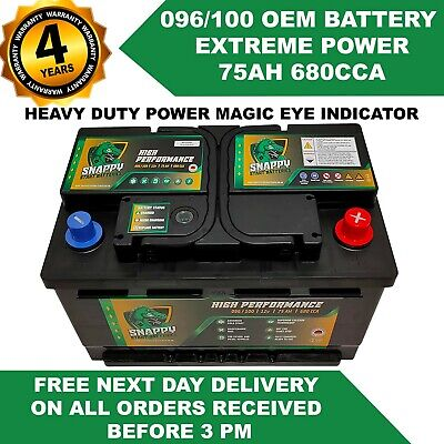 096-100 TRANSIT BATTERY 75ah Fully Charged FORD,PEUGEOT FITS MANY MAKES & MODELS