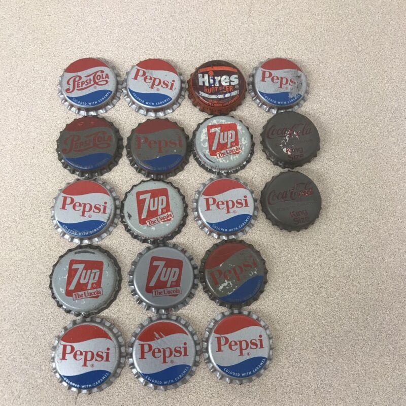 LOT Of 18 Pepsi Cola Coca Cola Hires 7up CORK Soda Bottle Caps Vintage AR172
