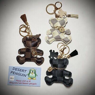 Fashion Teddy Bear Leather Tassel Key Ring Bag Charm Checkered Luxury Designer