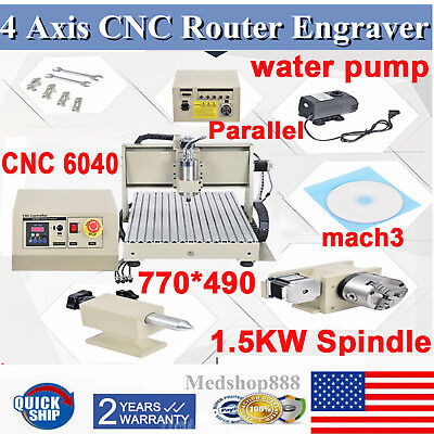 6040 Cnc Router Engraver 1.5kw 4 Axis Engraving Mill Drilling Machine 3d Graphic