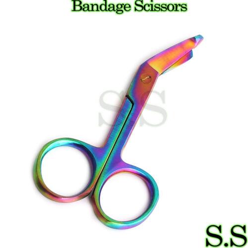 """1 Lister Bandage Nurse Scissors - 3.5"""" Multi Titanium Color Rainbow NURSE"""
