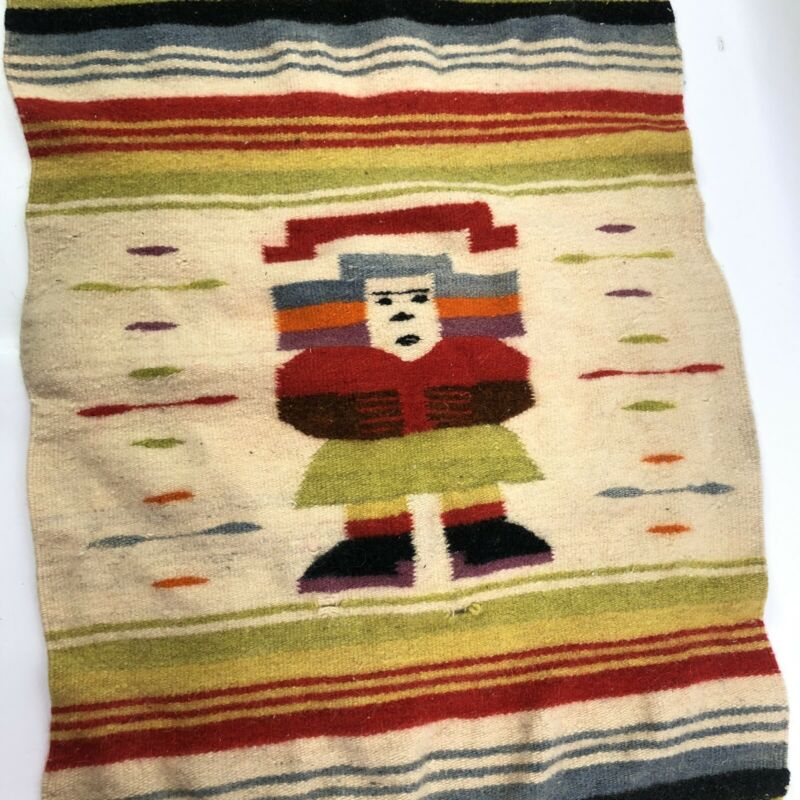 Vintage Dyed Wool Southwest Blanket or Rug Tight Weave with Character