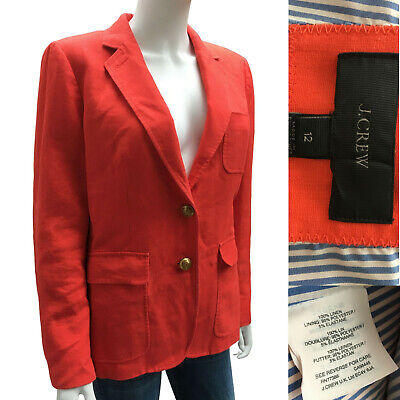 J. CREW size L 12 Pink 100%  Linen SCHOOLBOY BLAZER Two Bronze Button Jacket