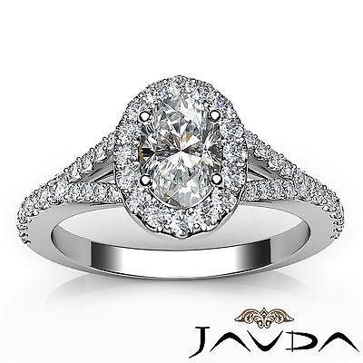 Halo Oval Natural Diamond Engagement Split Shank Prong Ring GIA F VVS2 1.21 Ct 3
