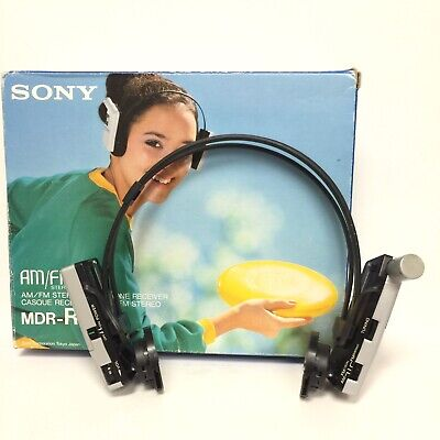 Vintage RARE Sony MDR-R9 AM FM headphone Radio Walkman 80's Works W/Box for sale  Shipping to India