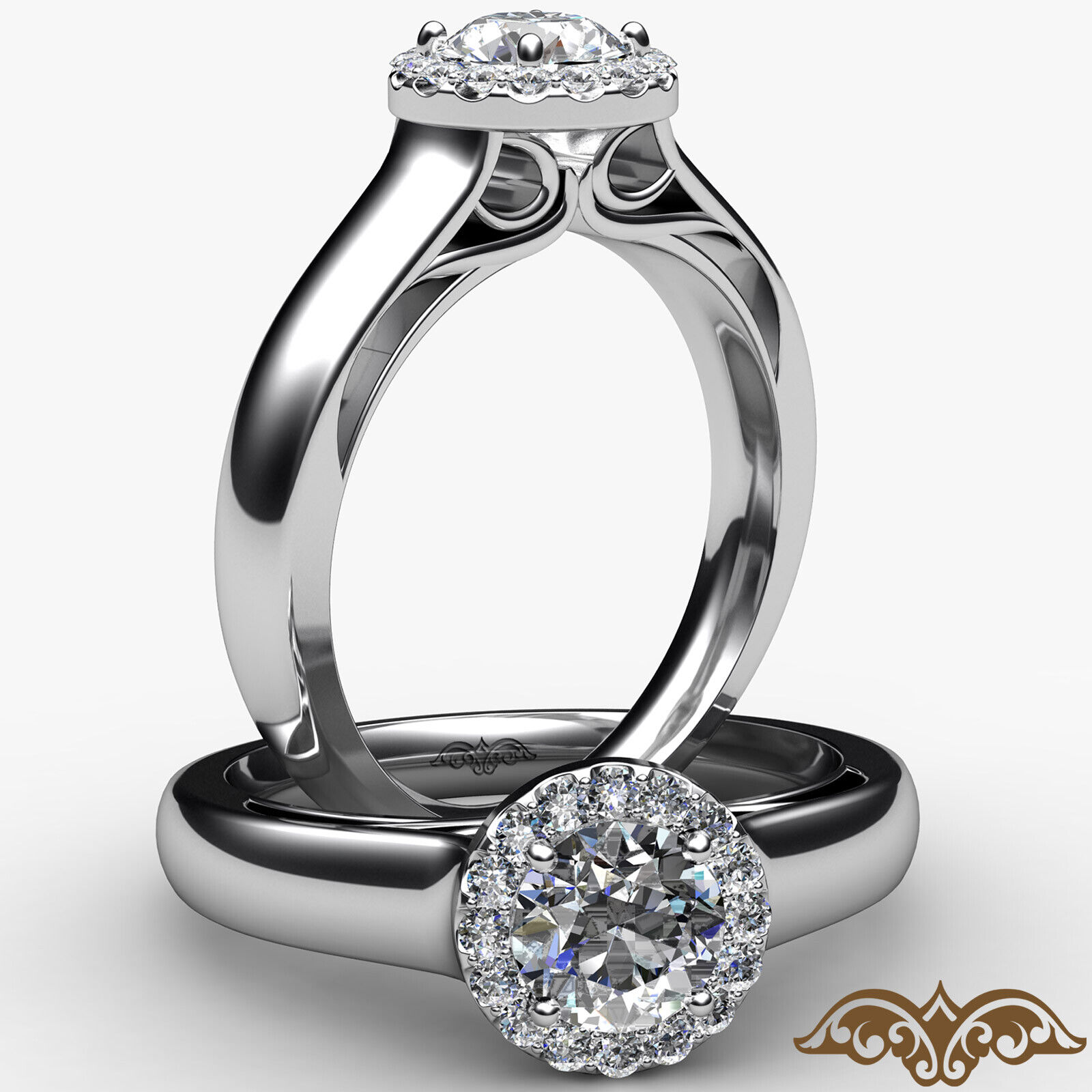 0.95ctw Tapered Cathedral Halo Round Diamond Engagement Ring GIA F-VVS1 W Gold