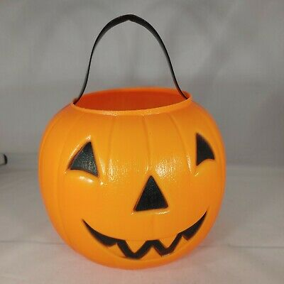 Empire Halloween Pumpkin Candy Trick Or Treat Bucket Plastic Blow Mold Vtg 1980