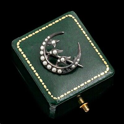 - Antique Vintage Art Nouveau Sterling Silver Pearl Lily of the Valley Pin Brooch