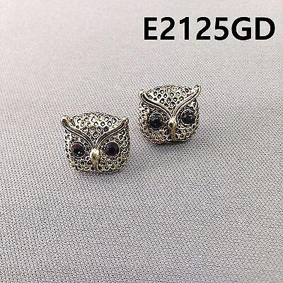 Gold Finished Black Stones Animal Bird Owl Shape Post Stud Earrings E2125GD Antique Gold Finish Bird