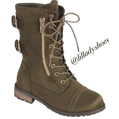 Girl Combat Boot (AMAZING GIRL OLIVE COMBAT BOOT (SIZES)
