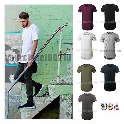 $3.75 - Men's T-Shirt Lot Long Extended Basic Fashion Tee Casual Tee Hip Hop Crew Neck