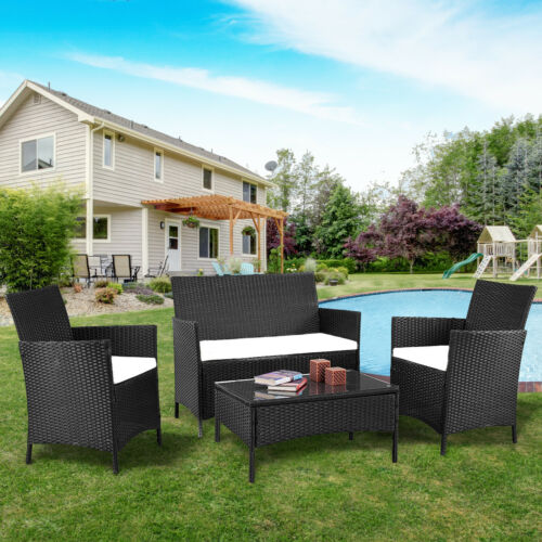Garden Furniture - 4PC Patio Rattan Wicker Chair Sofa Table Set Patio Garden Furniture with Cushion