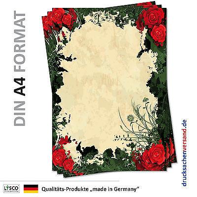 25 Blatt Motivpapier-5108 DIN A4 rote Rosen Kletterrosen grüne Blätter Muster
