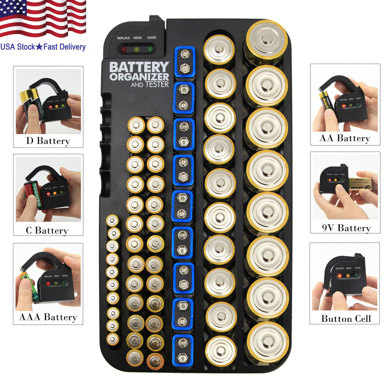 Battery Organizer and Tester Removable 72 Batteries Wall Mou
