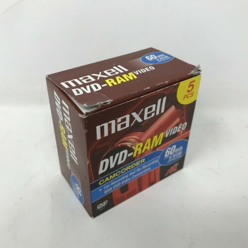 NEW Maxell 5 Pack DVD-RAM 60 Min 2.8GB Video DVD Discs for Camcorder Recording