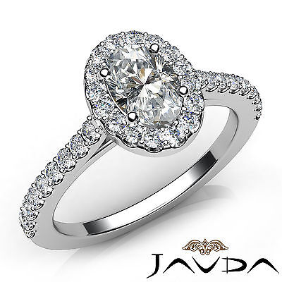 Halo French U Pave Oval Diamond Engagement Anniversary Ring GIA F Color SI1 1Ct
