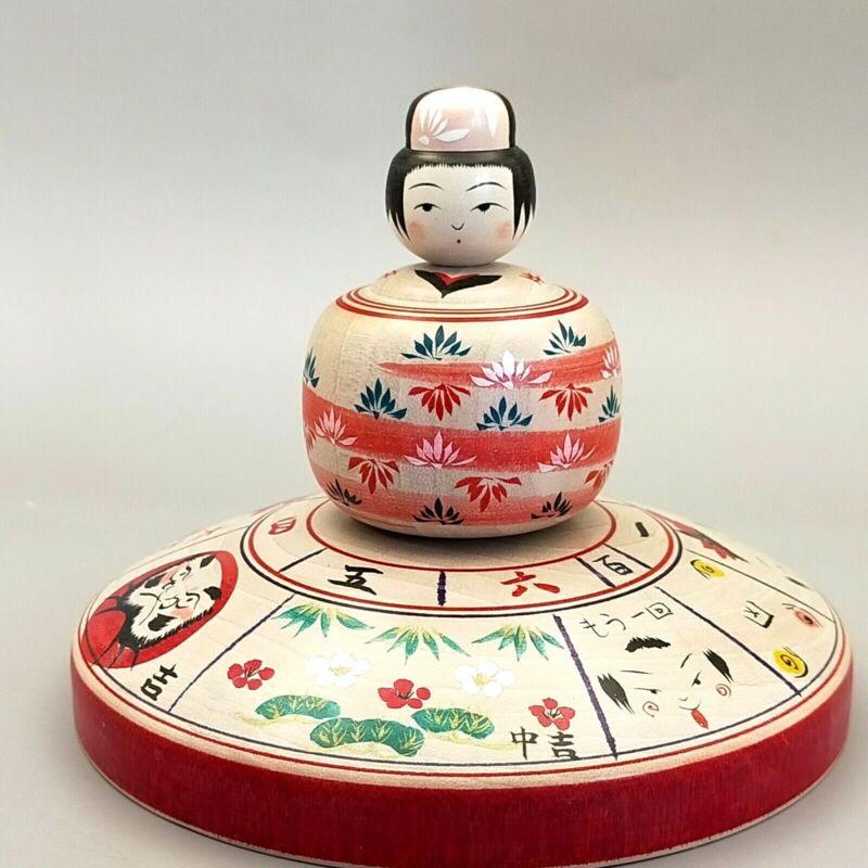 Japanese wooden top kokeshi Roulette fortune-telling,Daruma,Kakizawa Yoshinobu