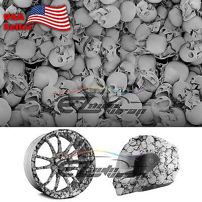 19x38 Hydrographic Film Hydro Dipping Water Transfer Black Skull Skeleton 13