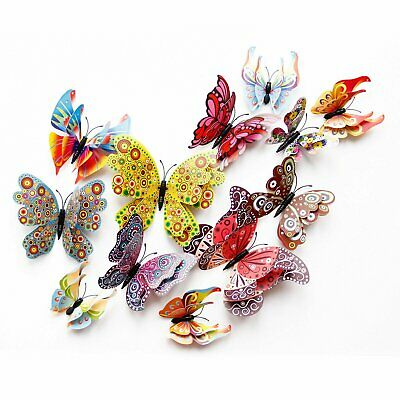 12 Pcs 3D Butterfly Wall Stickers PVC Children Room Decal Home Decoration Decor Decals, Stickers & Vinyl Art