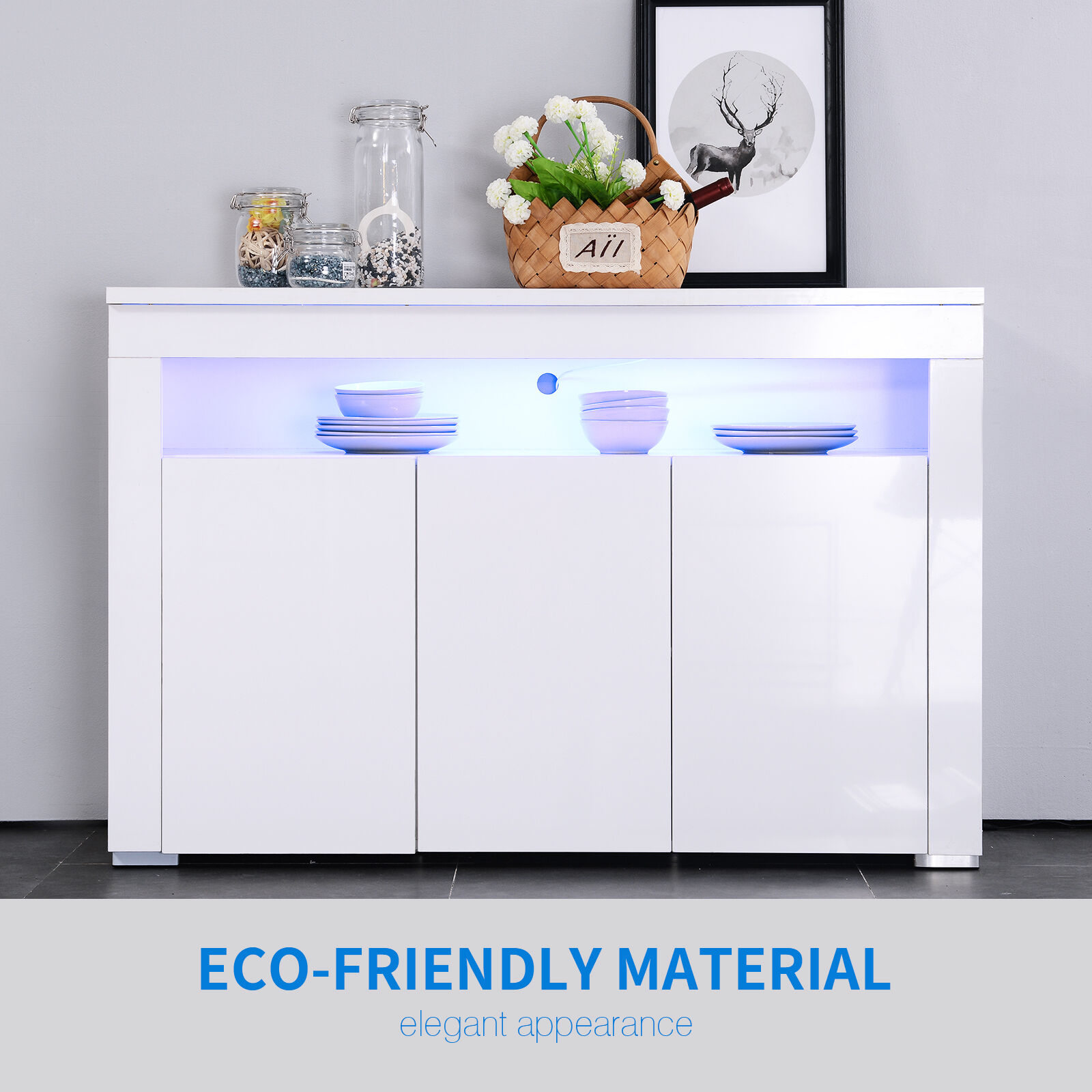 white high gloss modern sideboard cabinet cupboard buffet unit  - new white modern sideboard cabinet unit with led cupboard buffet