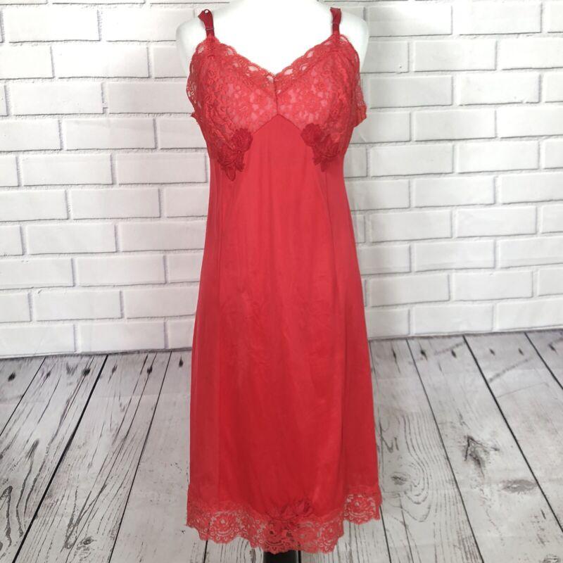 VTG Texsheen Bombshell Sexy Soft Red Nylon Lacy Full Slip Dress sz 36