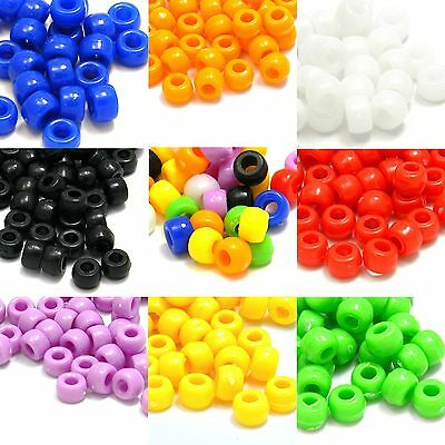 Lot of 100 Plastic Acrylic 9mm x 6mm Opaque Pony Crow Beads with Large 4mm Hole](Large Plastic Beads)