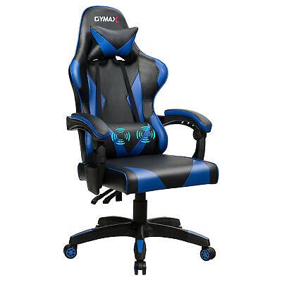 Gaming Chair Reclining Swivel Racing Office Chair Wmassage Lumbar Support Blue