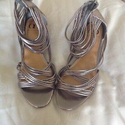 Kelsi Dagger Pewter Leather Gladiator style wedge sandals, Size 8.5M