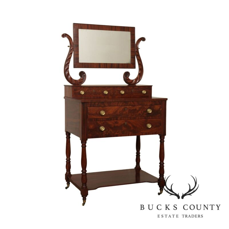 Antique Mahogany American Empire Dressing Table with Mirror