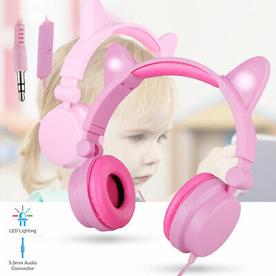 Kids Headphones Cat Ears Wired On-Ear Earphones LED Lights Up Pink Headsets Gift
