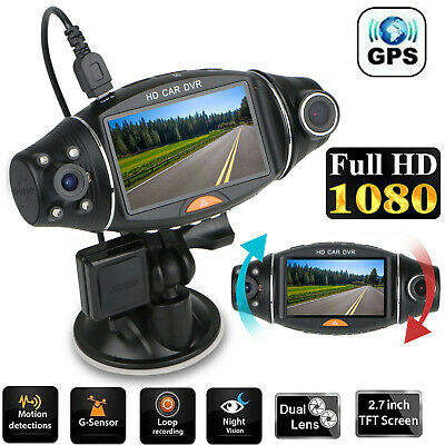 "2.7"" Dual Lens GPS Camera Car DVR Vehicle Dash Cam Video Recorder Night Vision"