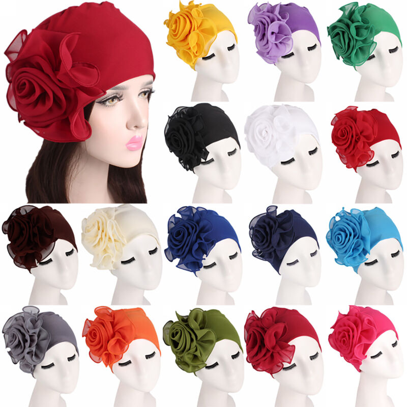 Women Headwear Flower Soft Hats Turban Chemo Cancer Hair Los