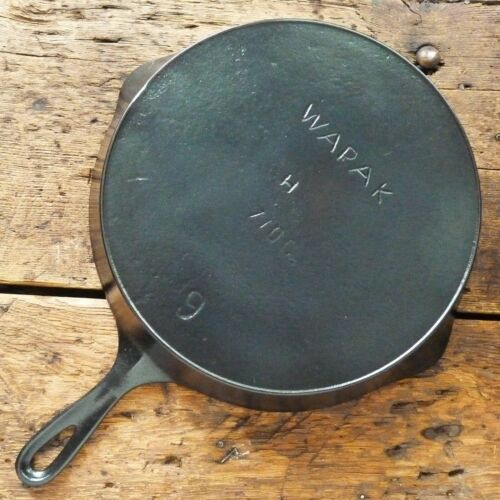 Antique WAPAK Cast Iron SKILLET Frying Pan # 9 ERIE GHOST - Ironspoon